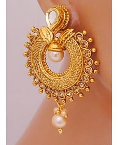 Goldpolish white earring -2611