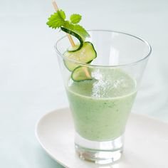 This cool drink delivers plenty of protein, calcium and vitamin C. Mint makes it especially refreshing on hot days.    Make it a meal: Round out this fruit- and calcium-rich recipe with protein and whole grains. Make a tuna salad sandwich out of 2 slices whole-grain bread and 2 ounces drained, water-packed tuna mixed with chopped celery or water chestnuts and 2 teaspoons mayonnaise.
