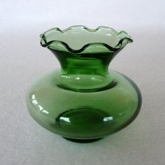 Forest Green Ruffle Top Vase Anchor Hocking by sweetrice on Etsy, $8.00