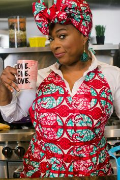 Regal Red Apron & Headwrap. 100% Cotton African Print. Made in Brooklyn NY. Can be purchased together or separately  https://www.etsy.com/shop/AnnieMaesCookwear