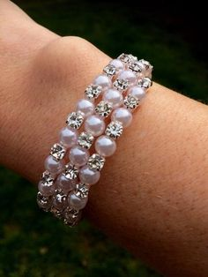 """DIAMANTE AND PEARL WEDDING BRACELET """"SPARKLY PEARLS"""""""