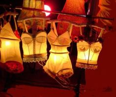 "Kelly Butler ""Tramp Lamps"" made from vintage lingerie"
