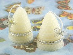 White Wedding Bell Shaped Beeswax Candles by doublebrush on Etsy, $11.95