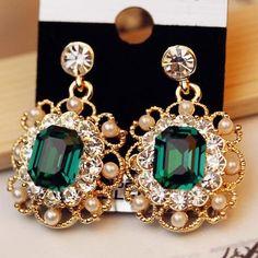 Encanto de la joyería de boda de moda con perlas pendiente colgante oro cristal cuelga los pendientes regalo de la joyería para para E180