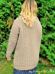 Chic Aran Cardigan - Free Crochet Pattern with Tutorial