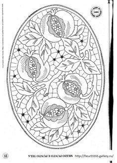 """Pomegranate design - Diseño Granadas - Click on """"previous"""" and """"next"""" arrows top right for other designs- Haz clic en flechas  """"previo"""" y """"próximo"""" en derecha superior para otros diseños Bobbin Lace Patterns, Machine Embroidery Patterns, Beaded Jewelry Patterns, Diy Bag Painting, Lace Painting, Jacobean Embroidery, Hand Embroidery, Silk Art, Point Lace"""