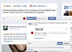 Promoted Facebook Posts for Nonprofits: The ROI of $30 Spent inAdvertising: http://nonprofitorgs.wordpress.com/2012/06/13/promoted-facebook-posts-for-nonprofits-the-roi-of-30-spent-in-advertising/
