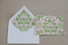 set of 20 blank notecards. pink and green in color. order online at tre bella. great gift idea.
