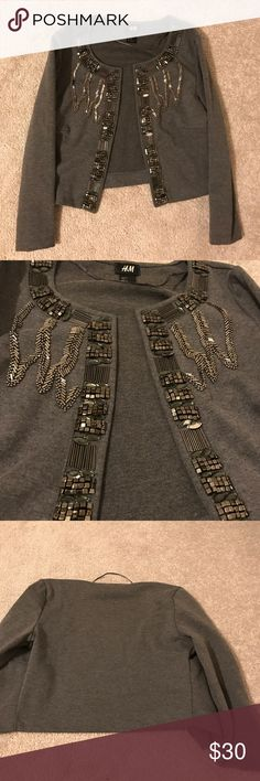 Grey jewel cardigan In perfect condition, never worn. Tag says XS but fits a small!!! Bundle and save :) under zara for exposure Zara Sweaters Cardigans
