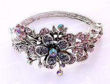 1p NEW VTG Tone Flower Crystal Rhinestone Cuff Bracelet Bangle Charms Jewelry #5