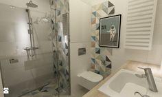 48 m2 mieszkanie Wilanów - minimalizm z kolorem - Mała łazienka bez okna, styl vintage - zdjęcie od Grafika i Projekt architektura wnętrz