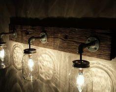 Einmachglas Leuchte Reclaimed Holz von GrindstoneDesign auf Etsy