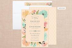 Romantic Watercolor Flora Wedding Invitations