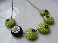Apple Green Polka Dots Surprising Polymer Clay