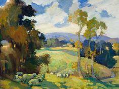 Edith Collier, 'Grazing sheep' 1930s Whanganui New Zealand