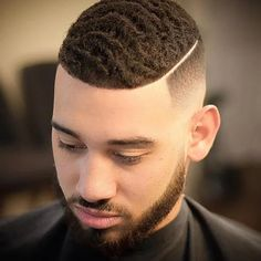 This is an example of the waves hairstyle for a black man. Black Men Haircuts, Black Men Hairstyles, Stylish Haircuts, Down Hairstyles, Combover Hairstyles, Men's Haircuts, Easy Hairstyles, Short Taper Fade, Taper Fade Haircut