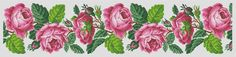For sale is Berlin Woolwork Floral Rose Border Panel Design Cross Stitch PDF Pattern in PDF format.    This is chart is created from old Berlin
