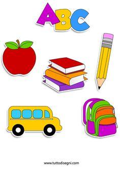 disegni-scuola-accoglienza School Welcome Bulletin Boards, Welcome To School, Back To School Images, School Pictures, Drawing School, Scrapbook Background, Classroom Labels, School Frame, School Clipart