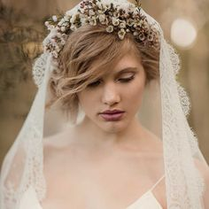 23. Mantilla Veil With Flower Crown - Cosmopolitan.com
