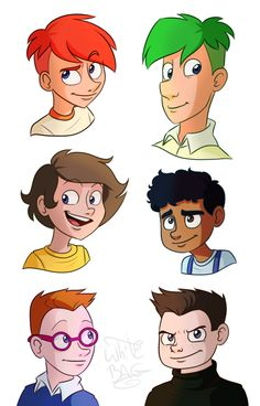 Phineas and Ferb, this is the best I've seen! << I like how they all really look like themselves, even with the different head shapes. Especially Phineas! Disney Pixar, Disney Xd, Disney Marvel, Disney Memes, Cute Disney, Disney Cartoons, Disney And Dreamworks, Cartoon As Anime, Cartoon Kunst
