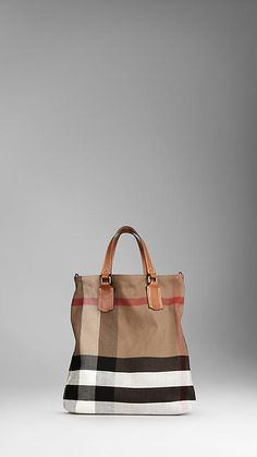 Medium Check Canvas Tote Bag | Burberry. In love with this bag and the oversized check pattern!