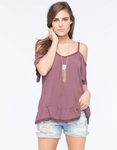LOTTIE & HOLLY Gauze Cold Shoulder Womens Peasant Top