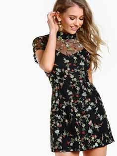 Shop Embroidered High Neck Mesh Dress BLACK online. SheIn offers Embroidered High Neck Mesh Dress BLACK & more to fit your fashionable needs.