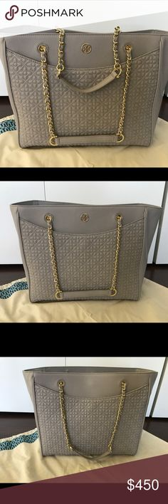 Tory Burch Bryant East West Quilted Tote Tory Burch Bryant East West Tote. Mercury gray with gold hardware. Used twice; in excellent condition. Multiple pockets inside and out! No marks, tears, stains, or any other imperfections. Comes with tag in dust bag. PRICE FIRM. Tory Burch Bags Totes
