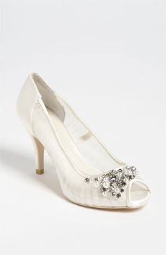 "Menbur Peep Toe Pump available at Nordstrom. 169.95 size 35. Heel height 3 1/4 with 1/2"" platform"