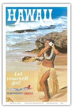 Northwest Orient 1960s Hawaii Poster