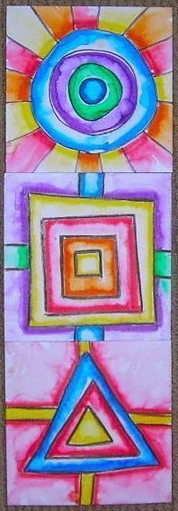 """Fine Lines: Kindergarten Collaborative Shapes using 6""""x6"""" square paper, crayons, primary and secondary colors, brush, and water."""
