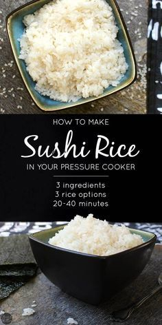 Pot Sushi Rice Whether you want to make sushi bowls or sushi rolls, you'll love this super simple recipe for Pressure Cooker Sushi Rice! you want to make sushi bowls or sushi rolls, you'll love this super simple recipe for Pressure Cooker Sushi Rice! Sushi Rice Recipes, Vegan Recipes Easy, Asian Recipes, Cooking Recipes, Sushi Rice Recipe Rice Cooker, Simple Recipes, Light Recipes, Instant Pot Sushi Rice, Making Sushi Rice