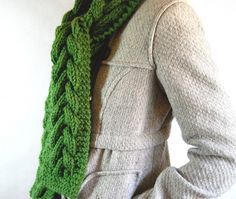 warm cable scarf - grass green $53 on etsy