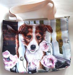 Dog puppy pink flower garden cute pet pup shopping tote hand bag zipper handmade #Handmade #ShoulderBag