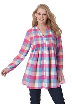 7934a65ecf0 Plus Size Flannel plaid long shirt | Plus Size maternity | Woman Within  Flannel Tunic,