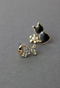 Cat Fish Earring Set//