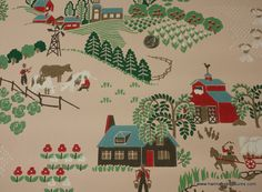 1940's Vintage Wallpaper Pink background with Farms and Houses
