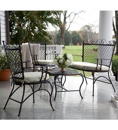 Iron Outdoor Seating Set With Cushions, In Brick by Plow & Hearth. $399.99. Iron outdoor furniture seating set with cushions. Outdoor furniture set includes love seat, two chairs, coffee table and seat cushions. Durable iron construction with a durable powder-coat finish. All-weather, outdoor patio and garden furniture. Great for any outdoor area: patio, porch, deck, yard or garden. Details abound in our beautifully styled Iron Outdoor Seating Set With Cushions. The clas...