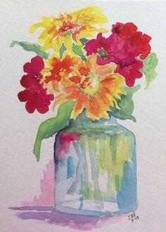 Easy Watercolor Paintings of Flowers Watercolor Heart, Easy Watercolor, Watercolor Flowers, Easy Flower Painting, Flower Art, Flower Vases, Watercolor Pictures, Watercolor Paintings, Watercolors