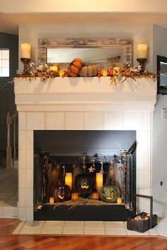 Cozy, Folk Art-Style Fall Decorations for the Mantel and Fireplace