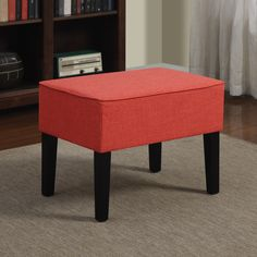 This Portfolio Home Furnishings Niles ottoman is great accent to your favorite chair making it even more comfortable with an ottoman. The Portfolio Niles ottoman is upholstered in a durable sunset red linen.