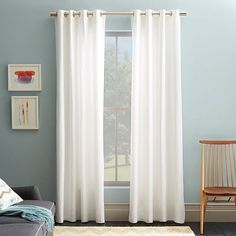 Cotton Canvas Grommet Curtain, Set of White, at West Elm - Curtains - Cotton Curtains - Window Treatments - Home Decor West Elm Curtains, Curtains And Draperies, Floral Curtains, Velvet Curtains, White Curtains, Grommet Curtains, Hanging Curtains, Drapes Curtains, Bedroom Curtains