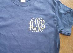 Gold Script Monogram T-shirt by Createdinthasouth on Etsy