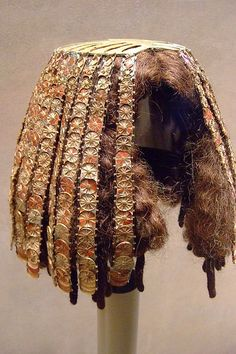 Wig Cover Dynasty 18 reign of Thutmose III 1479-1425 BCE from the tomb of the three minor wives of Thutmose III | Gold, gesso, carnelian, jasper, glass | ©mharrsch, via Flickr ~ Photographed at the Metropolitan Museum of Art in New York City, New York.