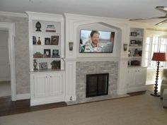 Master Bedroom Fireplace—built-in shelves next to fireplace