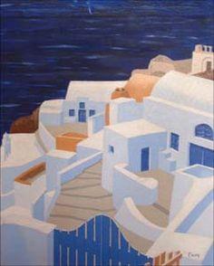 Grecia blu - 1998 - olio su tela fatta a mano - 44x56