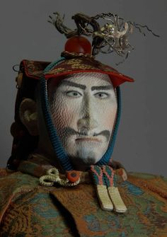 """Detail of doll, Tiger Kai Takeda Shingen, a historical Japanese figure (click image for article) // World of doll creation """"Jusaburo"""" Collection // photo by Toshikazu Tsujimura"""