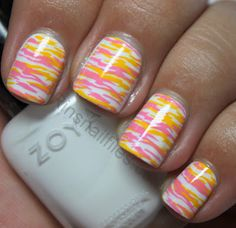 Zoya Purity as the base, then MASH 38 stamped with Konad pink, then Konad Yellow upside down