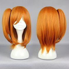 MCOSER Synthetic Harajuku Love Live Kousaka Honoka Fashion 48cm Short Orange Red Pigtail Cosplay Full Wig