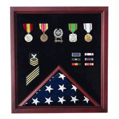 Retirement Cherry Medal and Flag Display Hand Made By Veterans
